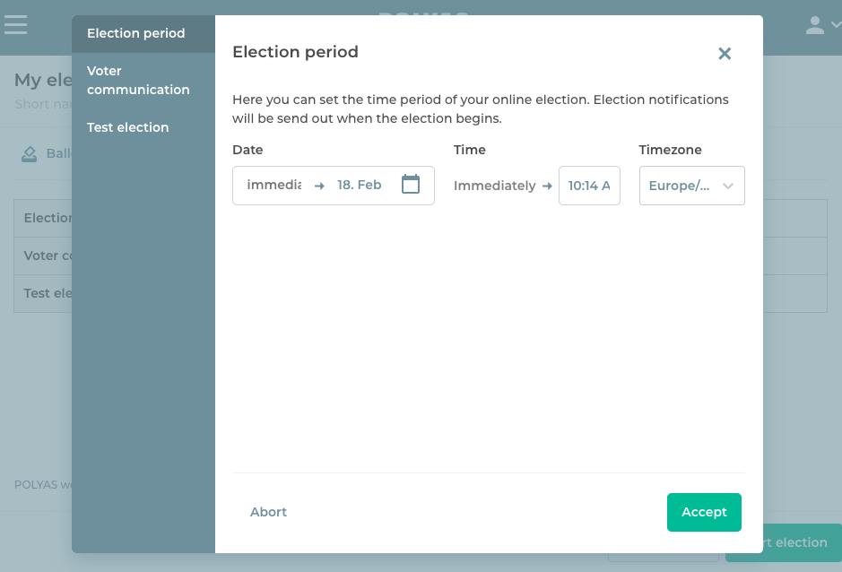 Set the election period with the POLYAS online voting manager