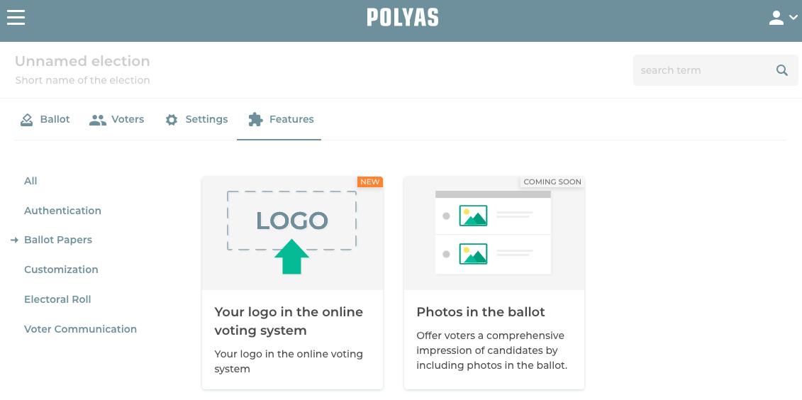 Find your feature in the online voting manager